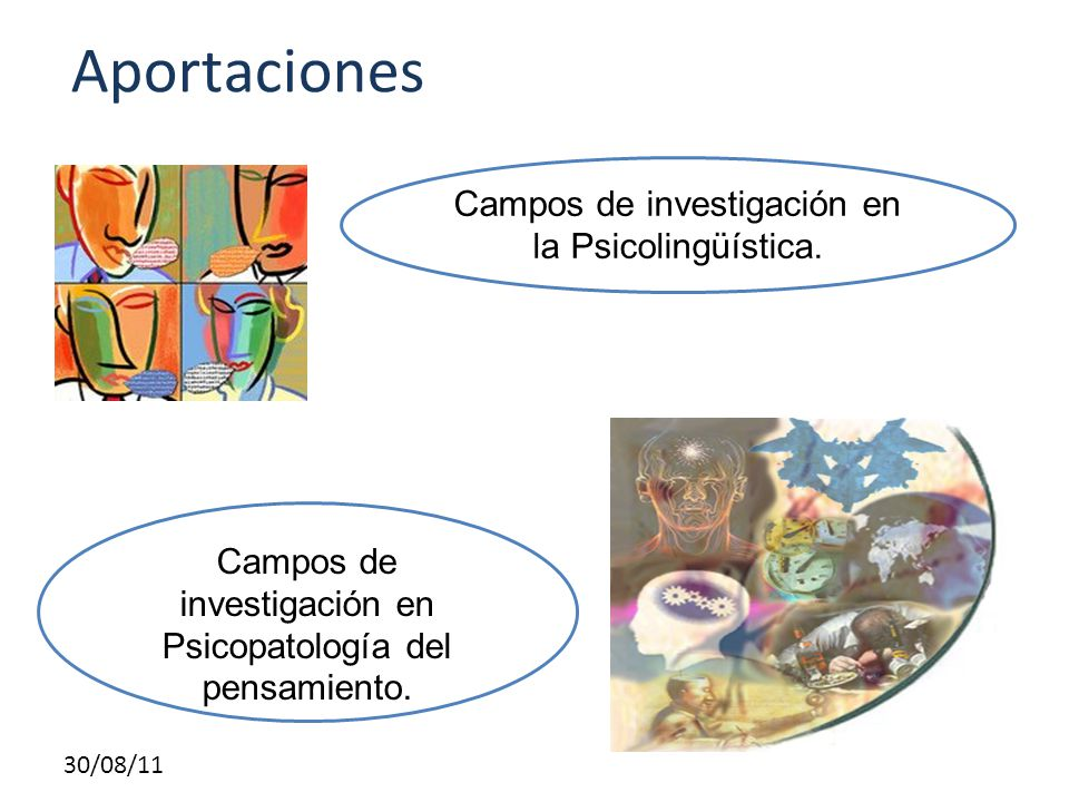 30/08/11 Aportaciones Campos de investigación en la Psicolingüística. Campos de investigación en Psicopatología del pensamiento.