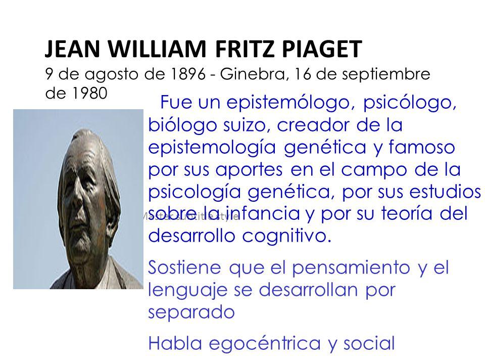 Click to edit Master subtitle style JEAN WILLIAM FRITZ PIAGET 9 de agosto de 1896 - Ginebra, 16 de septiembre de 1980 Fue un epistemólogo, psicólogo,