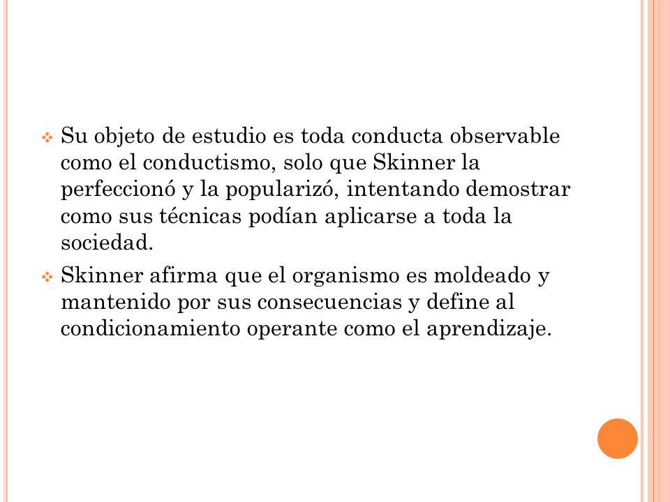 Su objeto de estudio es toda conducta observable como el conductismo, solo que Skinner la perfeccionó y la popularizó, intentando demostrar como sus técnicas podían aplicarse a toda la sociedad.