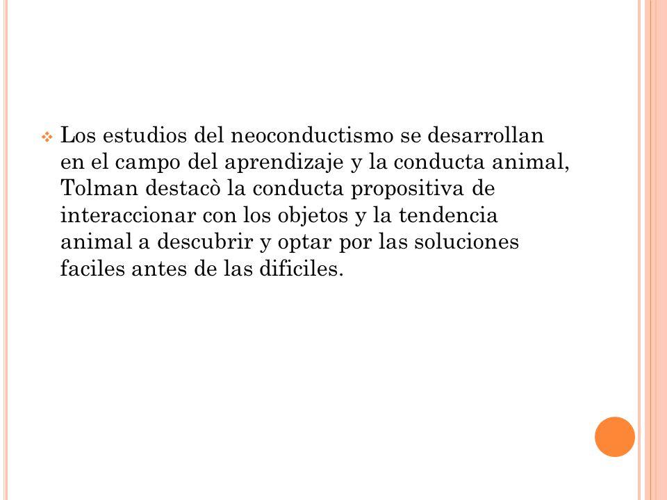 Los estudios del neoconductismo se desarrollan en el campo del aprendizaje y la conducta animal, Tolman destacò la conducta propositiva de interaccionar con los objetos y la tendencia animal a descubrir y optar por las soluciones faciles antes de las dificiles.