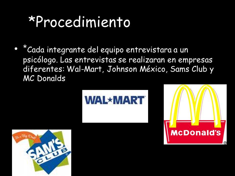 *Procedimiento * Cada integrante del equipo entrevistara a un psicólogo. Las entrevistas se realizaran en empresas diferentes: Wal-Mart, Johnson Méxic