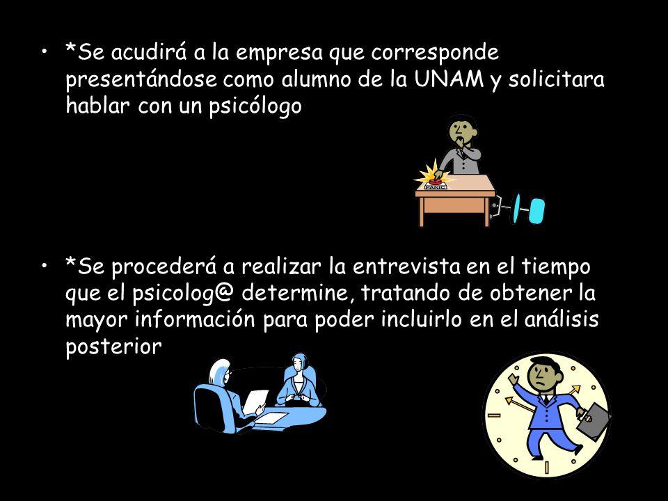 *Se acudirá a la empresa que corresponde presentándose como alumno de la UNAM y solicitara hablar con un psicólogo *Se procederá a realizar la entrevi