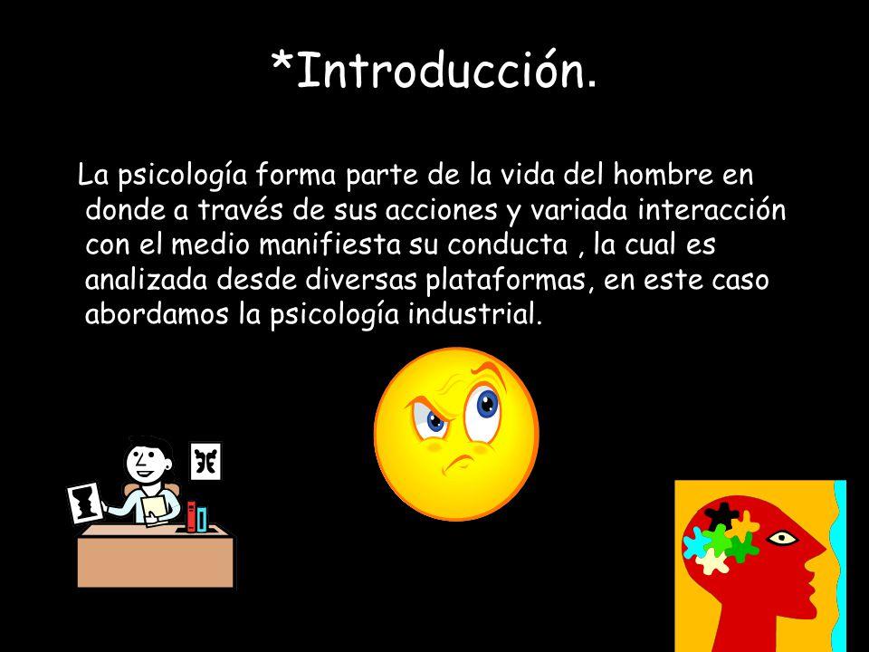 *Introducción. La psicología forma parte de la vida del hombre en donde a través de sus acciones y variada interacción con el medio manifiesta su cond