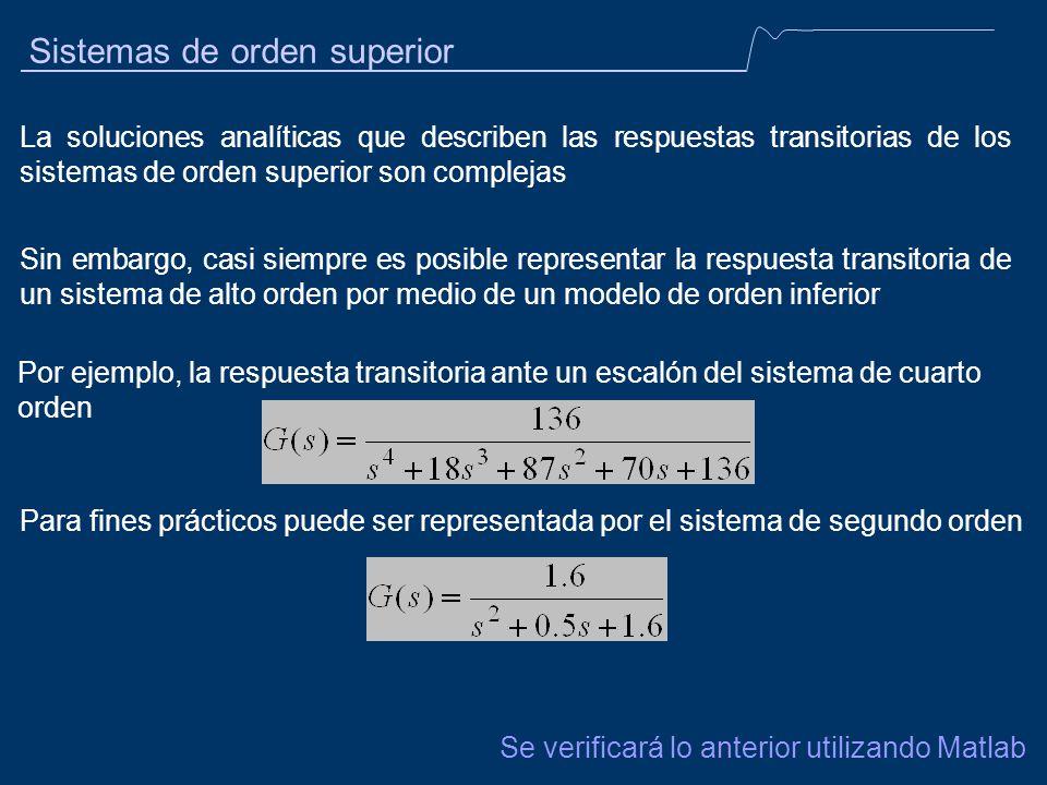 Sistemas de orden superior La soluciones analíticas que describen las respuestas transitorias de los sistemas de orden superior son complejas Sin emba