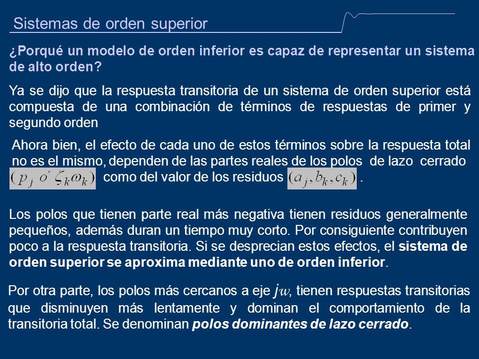 Sistemas de orden superior ¿Porqué un modelo de orden inferior es capaz de representar un sistema de alto orden? Ya se dijo que la respuesta transitor