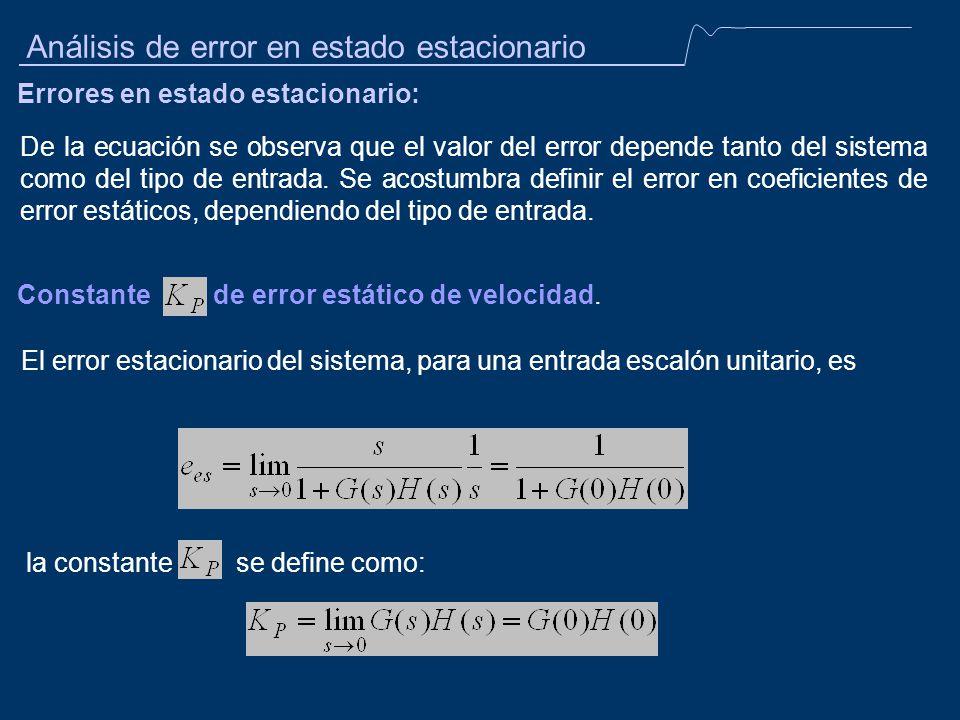 Análisis de error en estado estacionario Errores en estado estacionario: De la ecuación se observa que el valor del error depende tanto del sistema co