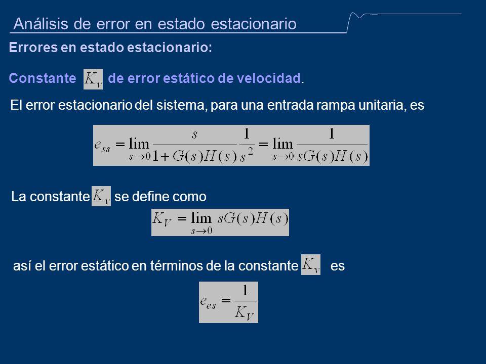 Constante de error estático de velocidad. Análisis de error en estado estacionario Errores en estado estacionario: El error estacionario del sistema,