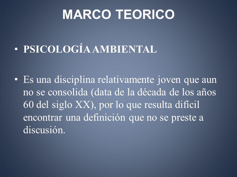 MARCO TEORICO PSICOLOGÍA AMBIENTAL Es una disciplina relativamente joven que aun no se consolida (data de la década de los años 60 del siglo XX), por lo que resulta difícil encontrar una definición que no se preste a discusión.