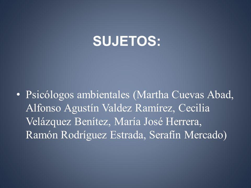 SUJETOS: Psicólogos ambientales (Martha Cuevas Abad, Alfonso Agustín Valdez Ramírez, Cecilia Velázquez Benítez, María José Herrera, Ramón Rodríguez Estrada, Serafín Mercado)