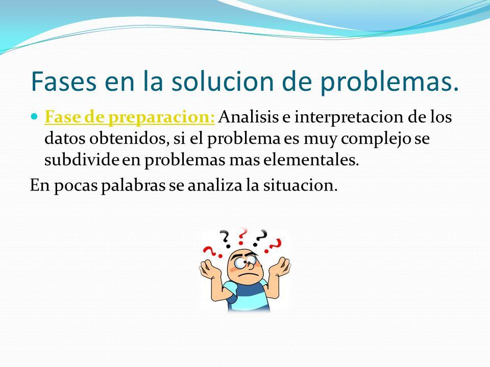Fases en la solucion de problemas. Fase de preparacion: Analisis e interpretacion de los datos obtenidos, si el problema es muy complejo se subdivide