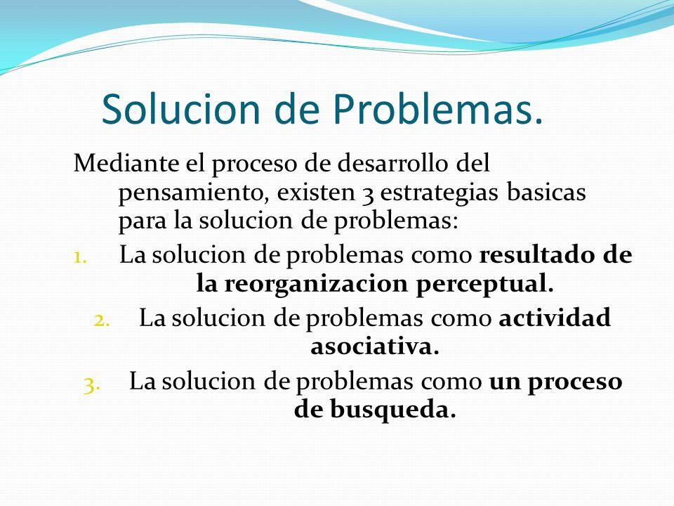 Solucion de Problemas. Mediante el proceso de desarrollo del pensamiento, existen 3 estrategias basicas para la solucion de problemas: 1. La solucion
