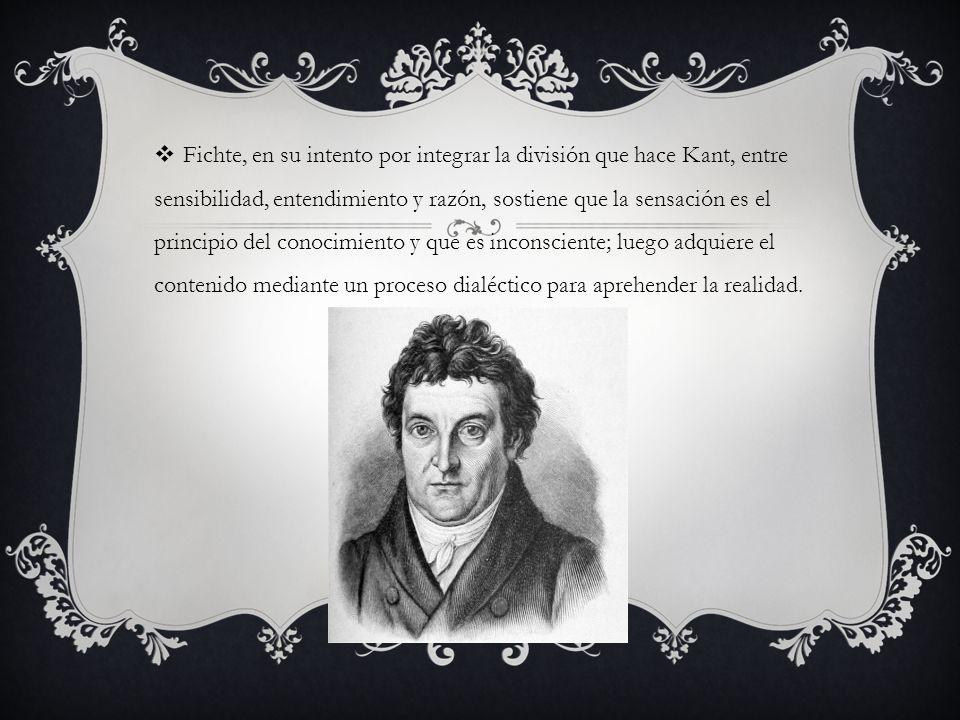 Fichte, en su intento por integrar la división que hace Kant, entre sensibilidad, entendimiento y razón, sostiene que la sensación es el principio del