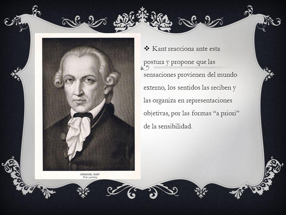 Kant reacciona ante esta postura y propone que las sensaciones provienen del mundo externo, los sentidos las reciben y las organiza en representacione