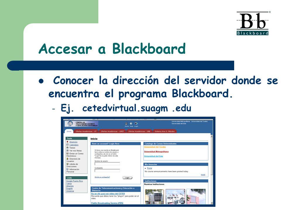 Accesar a Blackboard Conocer la dirección del servidor donde se encuentra el programa Blackboard. – Ej. cetedvirtual.suagm.edu