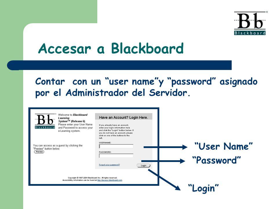Accesar a Blackboard User Name Password Login Contar con un user namey password asignado por el Administrador del Servidor.