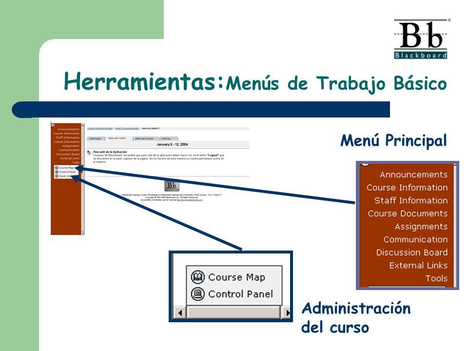 Herramientas: Menús de Trabajo Básico Menú Principal Administración del curso