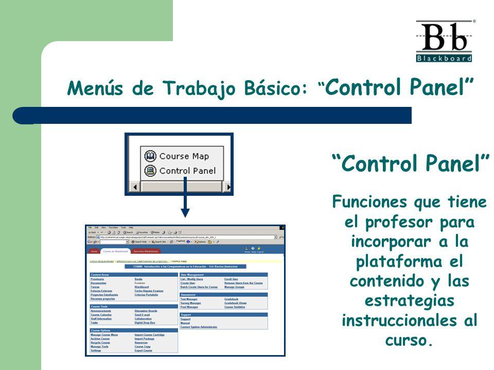 Menús de Trabajo Básico: Control Panel Funciones que tiene el profesor para incorporar a la plataforma el contenido y las estrategias instruccionales al curso.