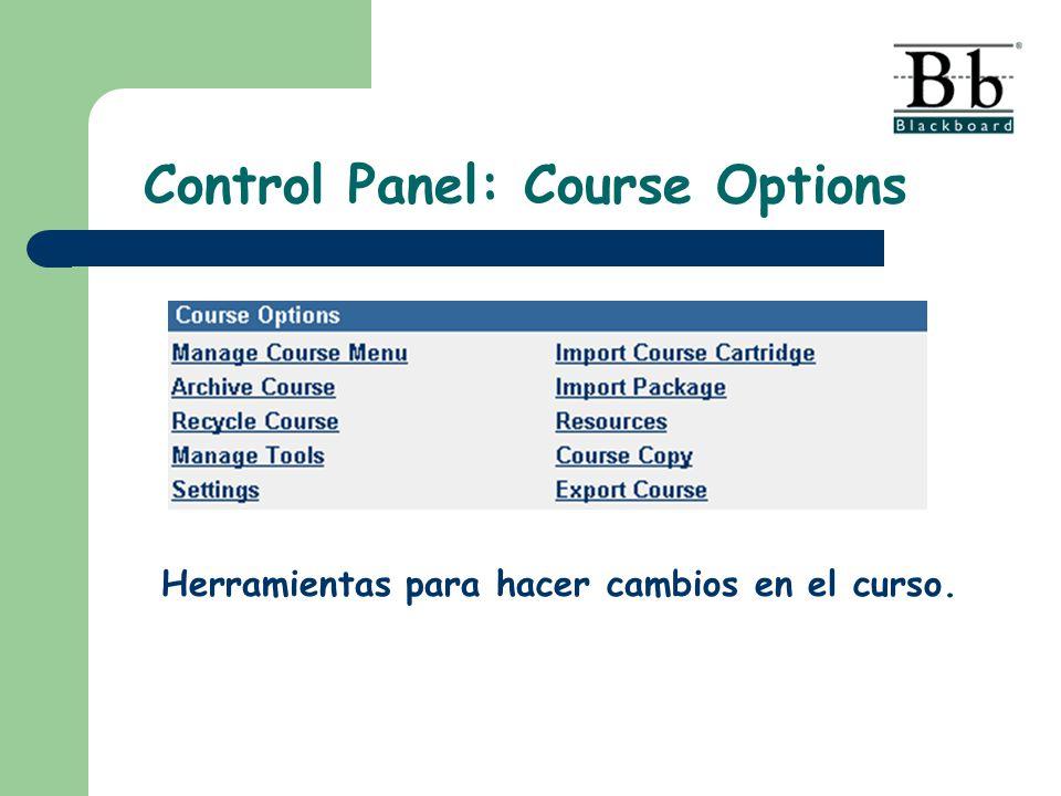 Control Panel: Course Options Herramientas para hacer cambios en el curso.