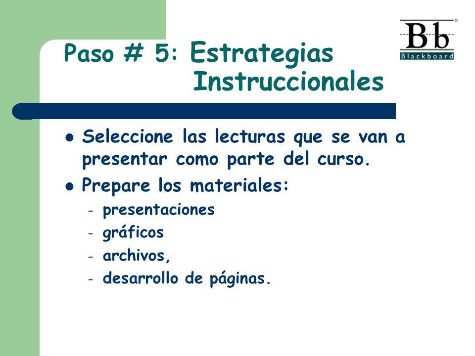 Seleccione las lecturas que se van a presentar como parte del curso. Prepare los materiales: – presentaciones – gráficos – archivos, – desarrollo de p