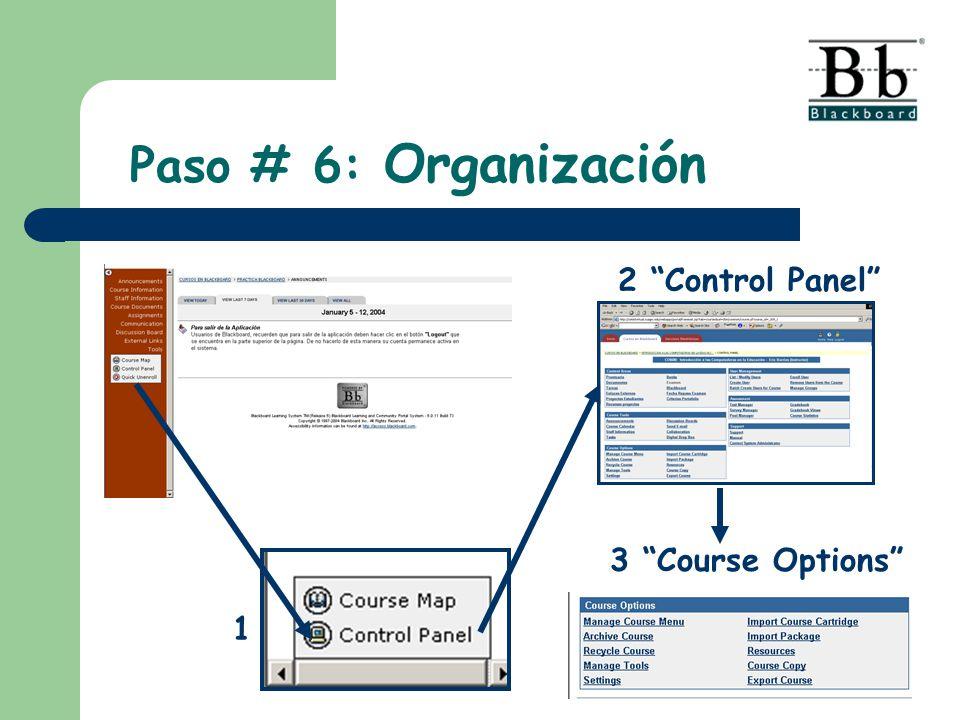 2 Control Panel 3 Course Options 1 Paso # 6: Organización