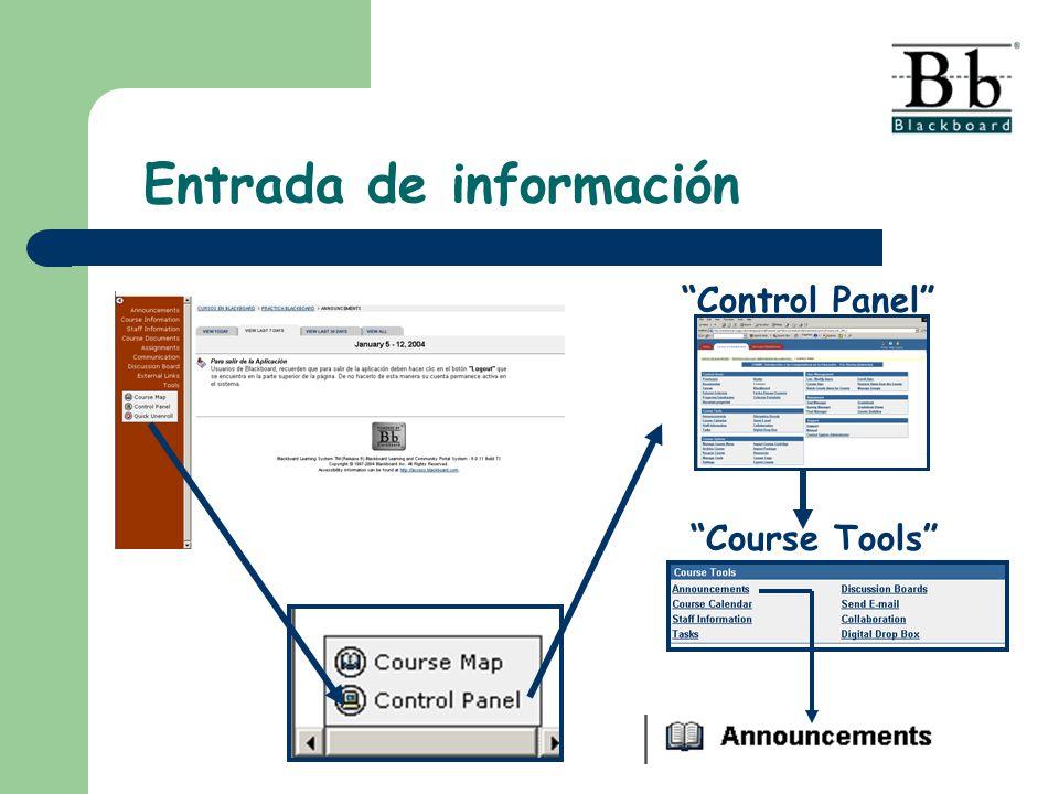 Entrada de información Control Panel Course Tools