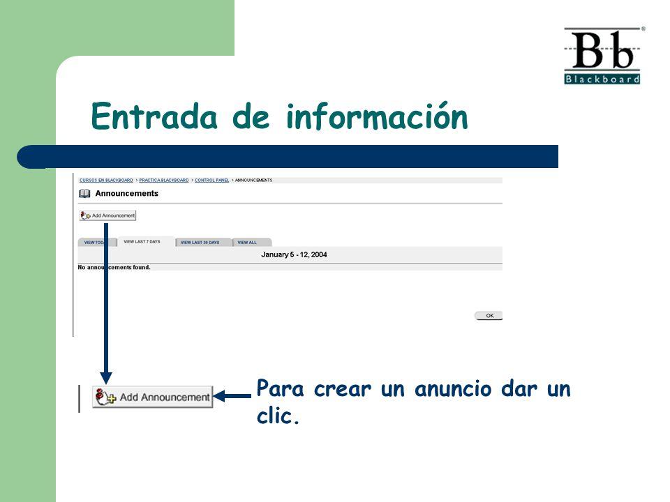 Entrada de información Para crear un anuncio dar un clic.
