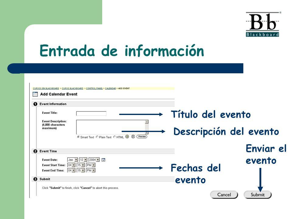 Título del evento Descripción del evento Fechas del evento Enviar el evento
