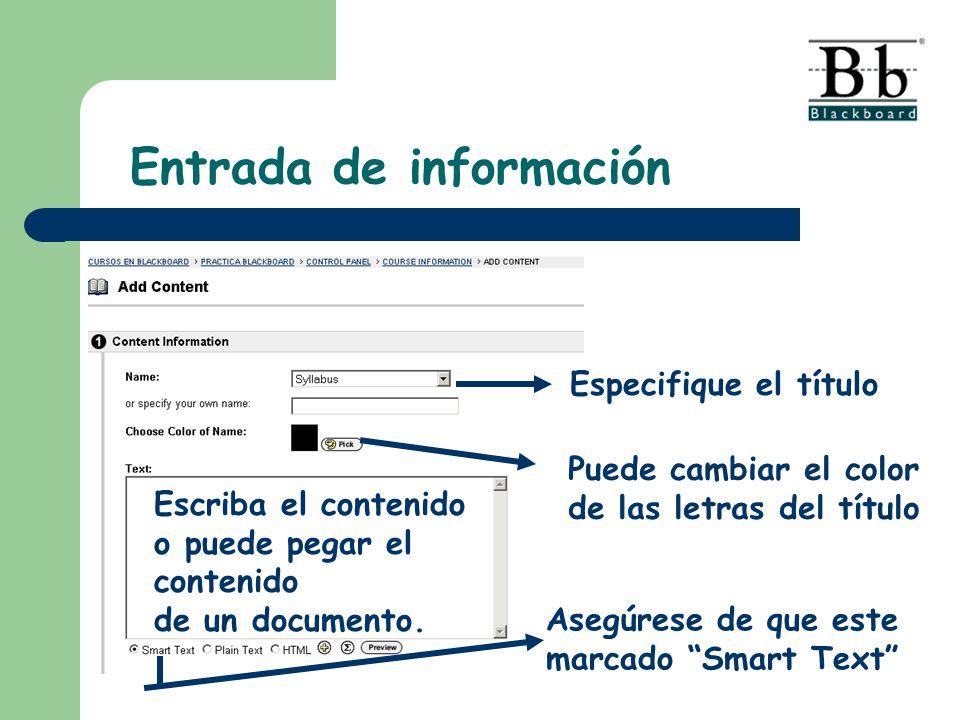 Especifique el título Escriba el contenido o puede pegar el contenido de un documento. Puede cambiar el color de las letras del título Asegúrese de qu