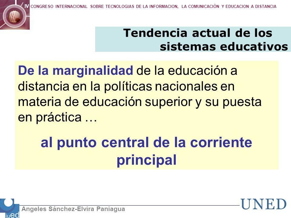 Angeles Sánchez-Elvira Paniagua IV CONGRESO INTERNACIONAL SOBRE TECNOLOGIAS DE LA INFORMACION, LA COMUNICACIÓN Y EDUCACION A DISTANCIA Tendencia actua