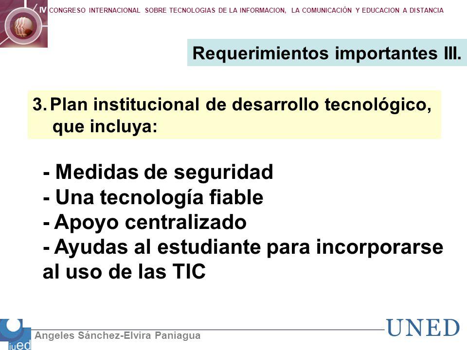 Angeles Sánchez-Elvira Paniagua IV CONGRESO INTERNACIONAL SOBRE TECNOLOGIAS DE LA INFORMACION, LA COMUNICACIÓN Y EDUCACION A DISTANCIA - Medidas de se