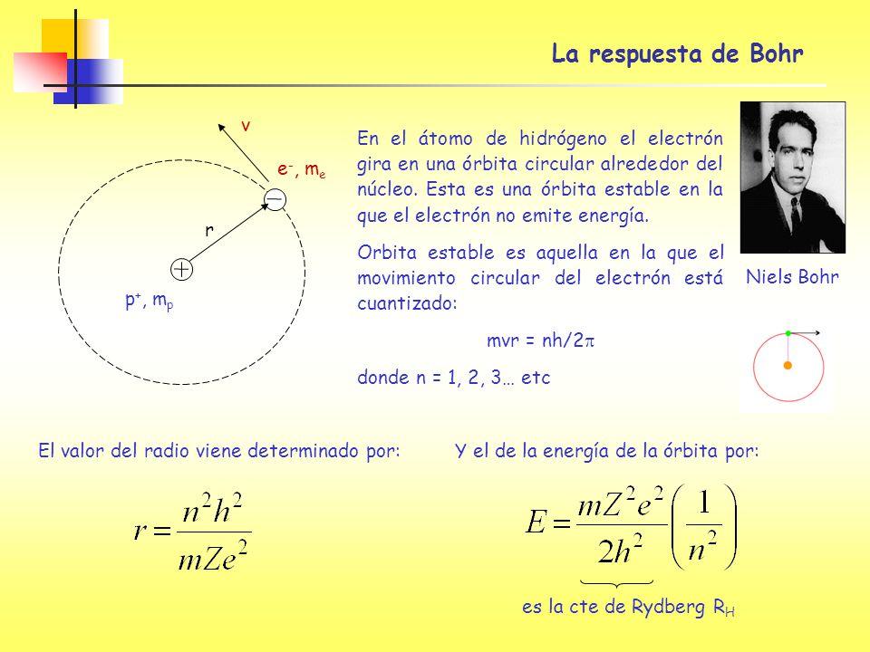 La respuesta de Bohr En el átomo de hidrógeno el electrón gira en una órbita circular alrededor del núcleo. Esta es una órbita estable en la que el el