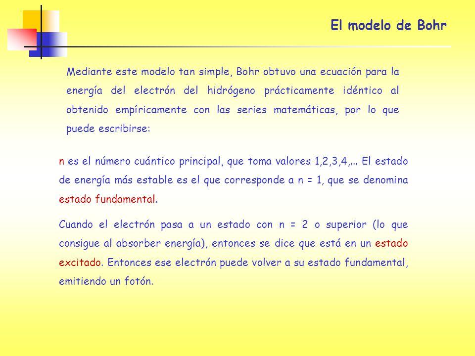 El modelo de Bohr Mediante este modelo tan simple, Bohr obtuvo una ecuación para la energía del electrón del hidrógeno prácticamente idéntico al obten