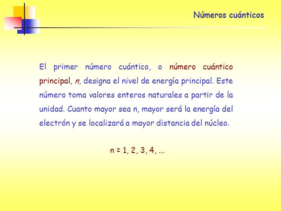 Números cuánticos El primer número cuántico, o número cuántico principal, n, designa el nivel de energía principal. Este número toma valores enteros n