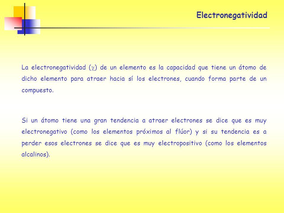 La electronegatividad ( ) de un elemento es la capacidad que tiene un átomo de dicho elemento para atraer hacia sí los electrones, cuando forma parte