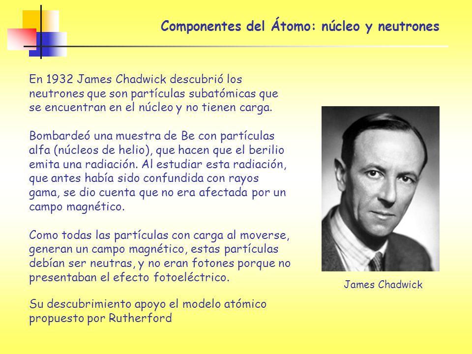 Componentes del Átomo: núcleo y neutrones En 1932 James Chadwick descubrió los neutrones que son partículas subatómicas que se encuentran en el núcleo