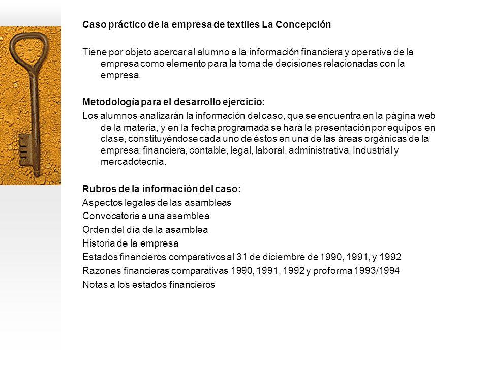 Caso práctico de la empresa de textiles La Concepción Tiene por objeto acercar al alumno a la información financiera y operativa de la empresa como elemento para la toma de decisiones relacionadas con la empresa.