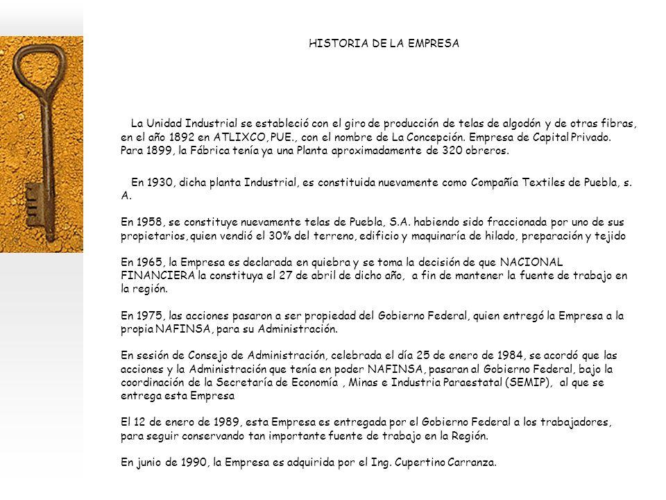 HISTORIA DE LA EMPRESA La Unidad Industrial se estableció con el giro de producción de telas de algodón y de otras fibras, en el año 1892 en ATLIXCO, PUE., con el nombre de La Concepción.