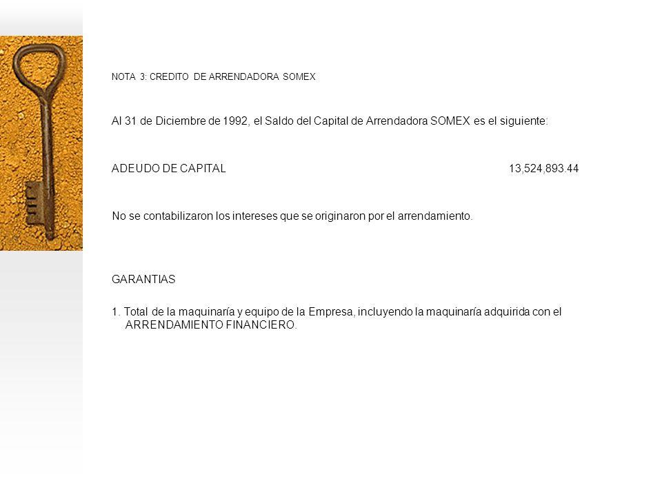 NOTA 3: CREDITO DE ARRENDADORA SOMEX Al 31 de Diciembre de 1992, el Saldo del Capital de Arrendadora SOMEX es el siguiente: ADEUDO DE CAPITAL13,524,893.44 No se contabilizaron los intereses que se originaron por el arrendamiento.