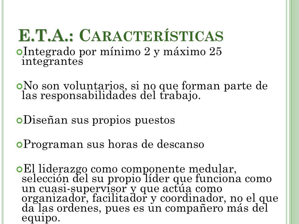 E.T.A.: E.T.A.: C ARACTERÍSTICAS Integrado por mínimo 2 y máximo 25 integrantes No son voluntarios, si no que forman parte de las responsabilidades del trabajo.