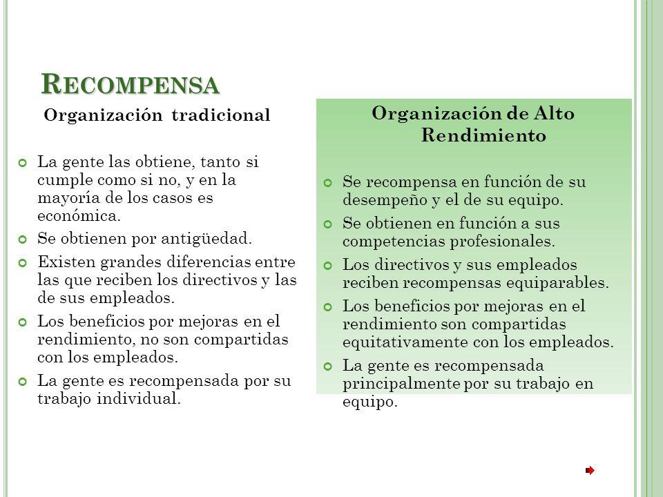 R ECOMPENSA Organización tradicional La gente las obtiene, tanto si cumple como si no, y en la mayoría de los casos es económica.