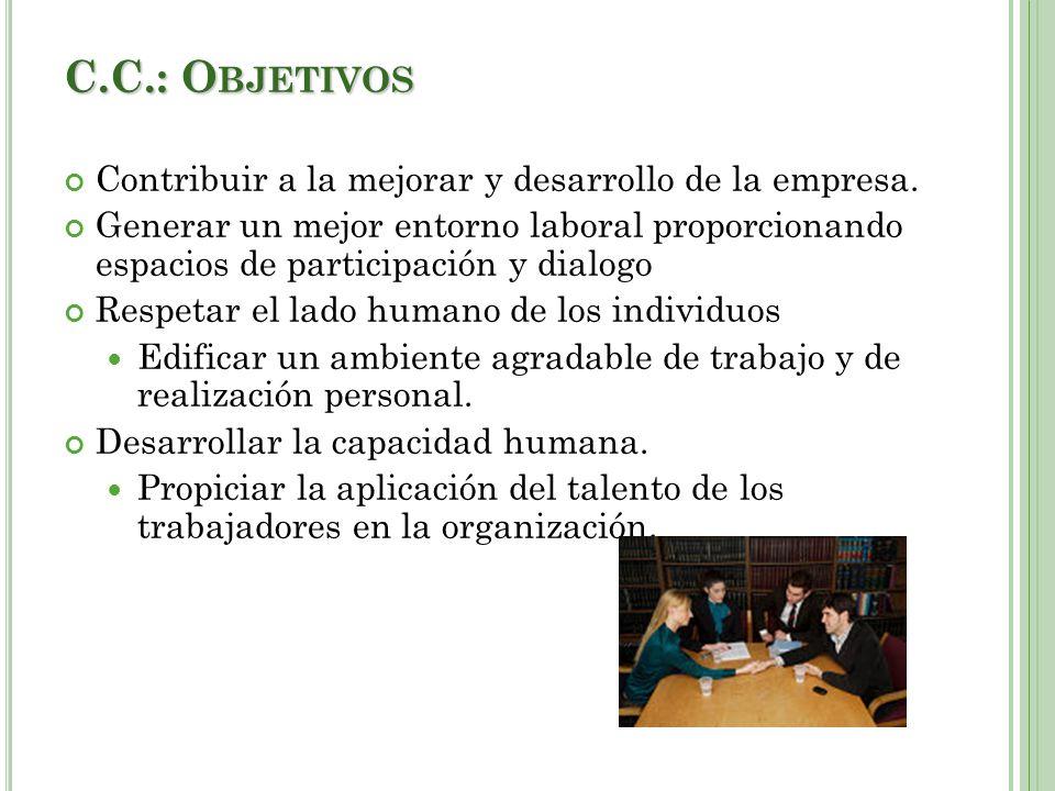 C.C.: O BJETIVOS Contribuir a la mejorar y desarrollo de la empresa.
