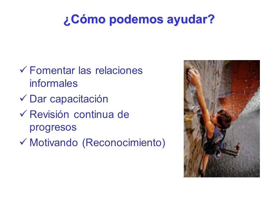 Fomentar las relaciones informales Dar capacitación Revisión continua de progresos Motivando (Reconocimiento) ¿Cómo podemos ayudar?