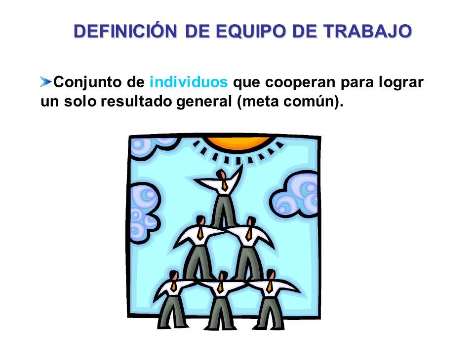 Conjunto de individuos que cooperan para lograr un solo resultado general (meta común).