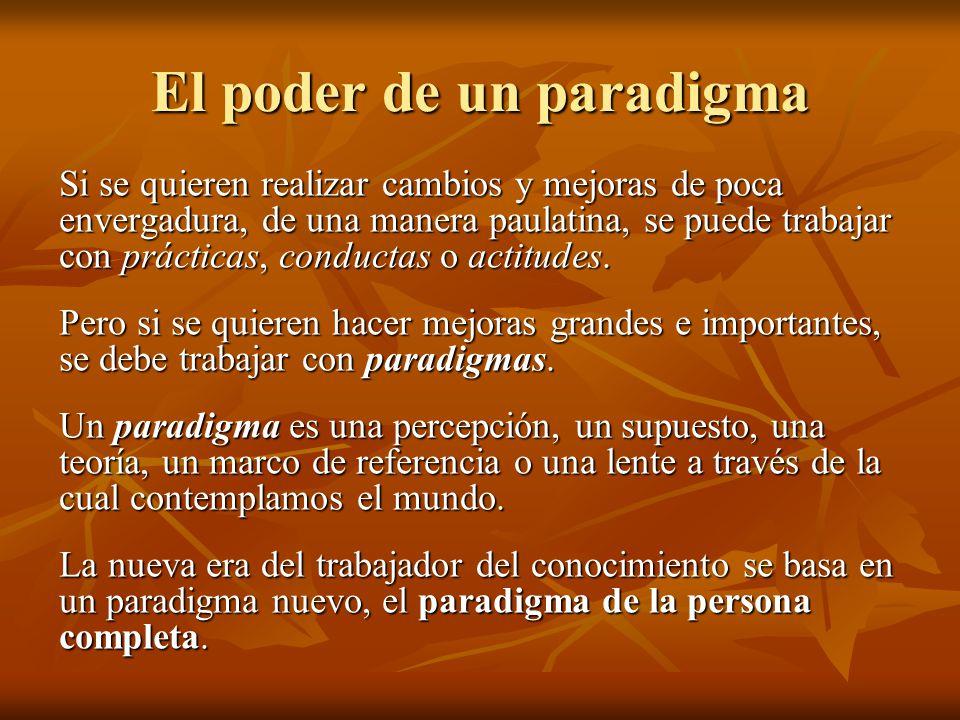 El poder de un paradigma Si se quieren realizar cambios y mejoras de poca envergadura, de una manera paulatina, se puede trabajar con prácticas, condu