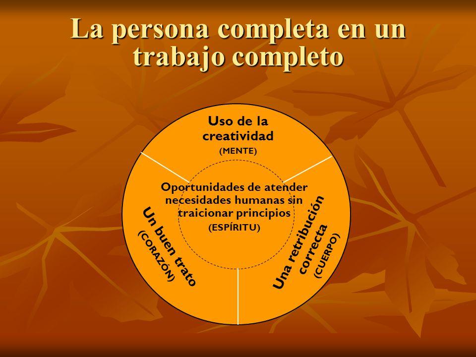 La persona completa en un trabajo completo Uso de la creatividad (MENTE) Un buen trato (CORAZÓN) Una retribución correcta (CUERPO) Oportunidades de at