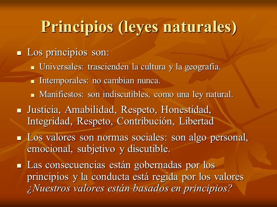 Principios (leyes naturales) Los principios son: Los principios son: Universales: trascienden la cultura y la geografía. Universales: trascienden la c