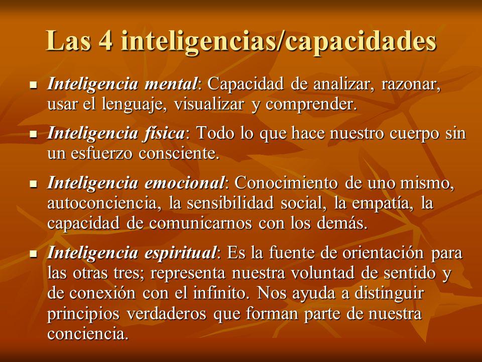 Las 4 inteligencias/capacidades Inteligencia mental: Capacidad de analizar, razonar, usar el lenguaje, visualizar y comprender. Inteligencia mental: C