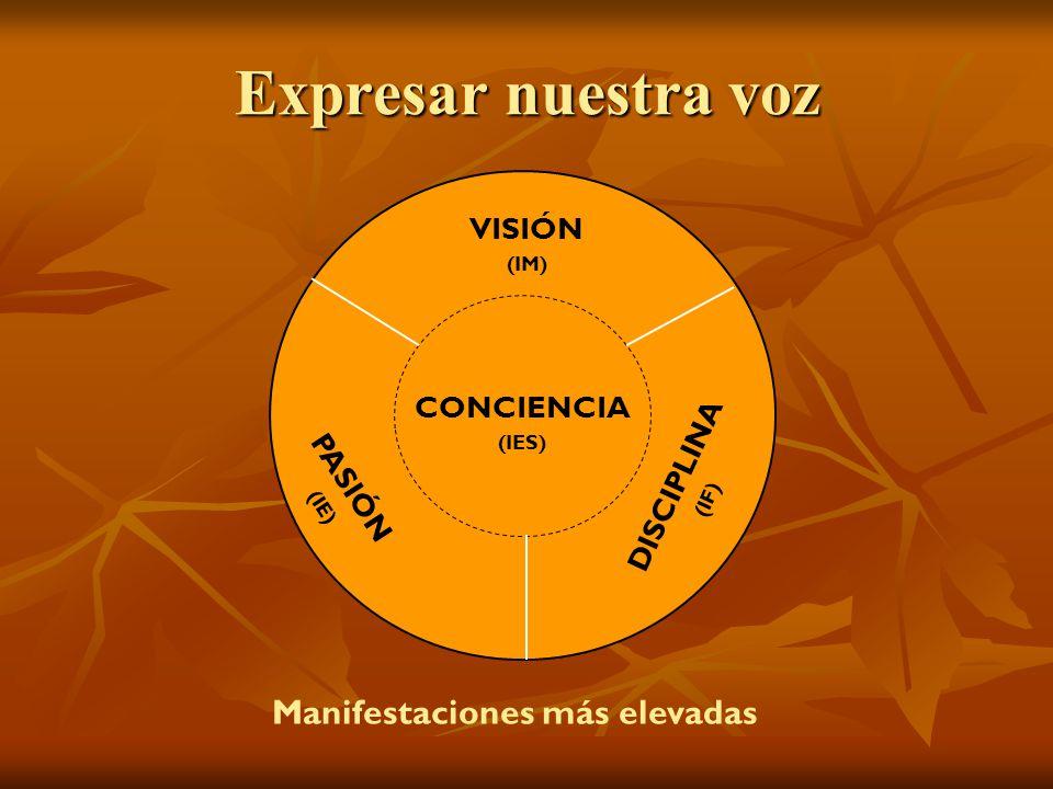 Expresar nuestra voz VISIÓN (IM) PASIÓN (IE) DISCIPLINA (IF) CONCIENCIA (IES) Manifestaciones más elevadas