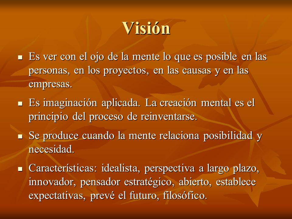 Visión Es ver con el ojo de la mente lo que es posible en las personas, en los proyectos, en las causas y en las empresas. Es ver con el ojo de la men