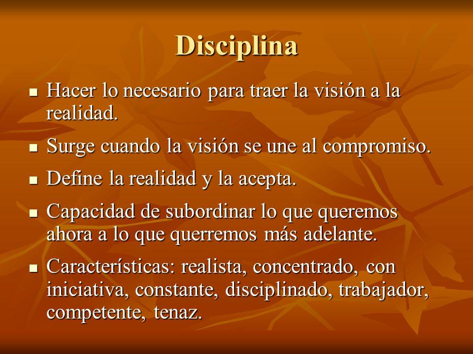 Disciplina Hacer lo necesario para traer la visión a la realidad. Hacer lo necesario para traer la visión a la realidad. Surge cuando la visión se une